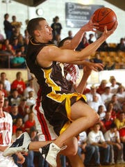 Kickapoo's Kyle Kirk goes airborne in the Show-Me Showdown against the West Plains Zizzers in Bolivar in 2003.