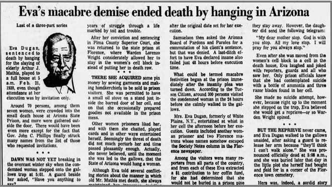 An archived Republic story about Eva Dugan, who would become the last condemned inmate executed by hanging in Arizona.