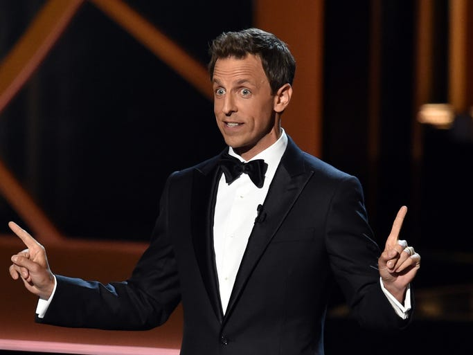 LOS ANGELES, CA - AUGUST 25:  Host Seth Meyers speaks onstage at the 66th Annual Primetime Emmy Awards held at Nokia Theatre L.A. Live on August 25, 2014 in Los Angeles, California.  (Photo by Kevin Winter/Getty Images)