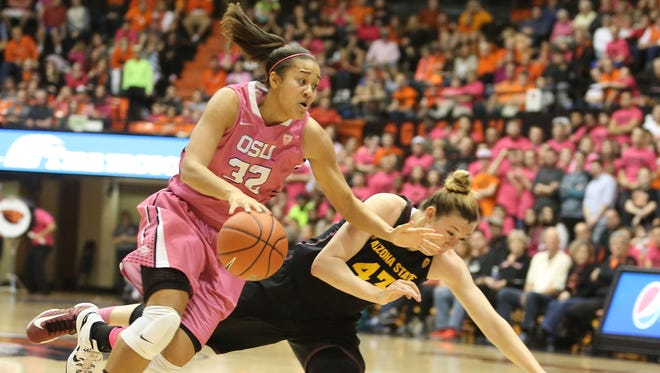 Oregon State forward Deven Hunter drives to the basket in last season's annual DAM Cancer pink game against Arizona State.