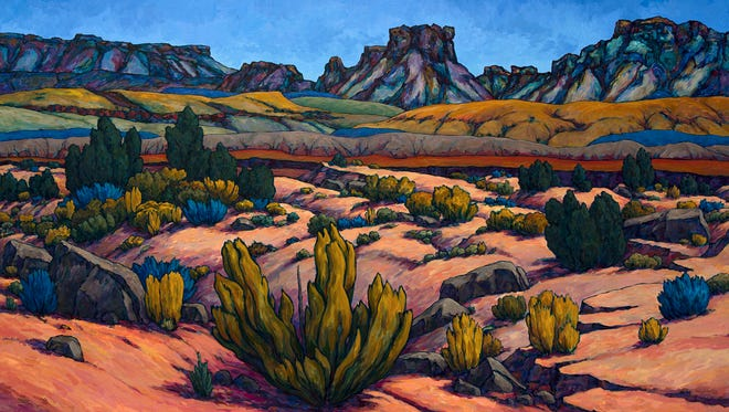 """Notom Ridge,"" an acrylic painting by Royden Card, recently won first place in the Utah Images Commemorative Art Show."