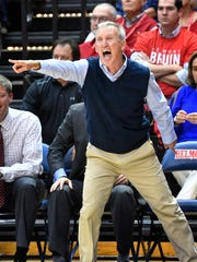 Belmont coach Rick Byrd yells instructions to his team as Vanderbilt plays Belmont at Belmont's Curb Event Center