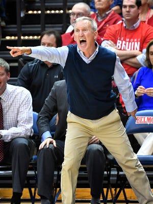 Belmont coach Rick Byrd yells instructions to his team as Vanderbilt plays Belmont at Belmont's Curb Event CenterMonday Nov. 13, 2017, in Nashville, TN