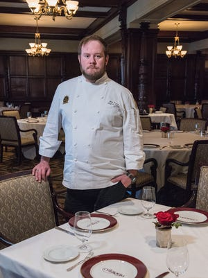 Chef de Cuisine Nick Sullivan in the main dining room in The Oakroom at The Seelbach Hilton.