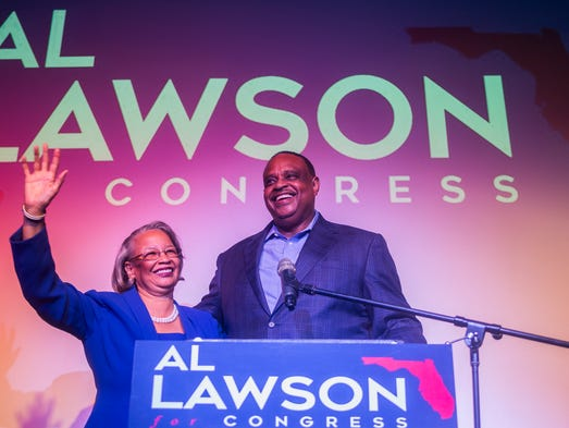 Congressional candidate Al Lawson joined by his wife