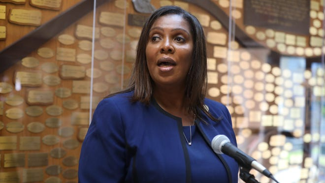 New York Attorney General Letitia James talks about the ongoing investigation into the death of Daniel Prude during a press conference Sunday at Aenon Missionary Baptist Church in Rochester.