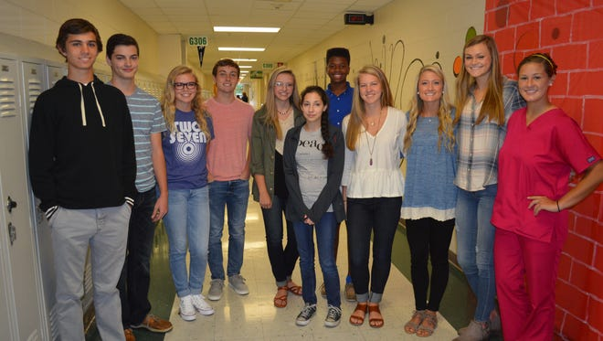 Henderson County High School's August students of the month are, front row from left: Riley Martin, Noah Hamblin, Sallee Stovall, Connor Coomes, Emily Bird, Italia Blasser, Tavien Reaser, Clarke Sights, Erin Williams, Hannah Watkins and Mary Kate Daniel.