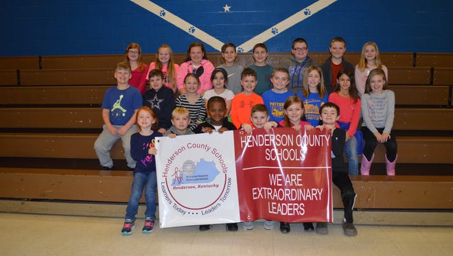 Spottsville Elementary January leaders of the month are, front row from left: Maci Webb, Seth Boggess, Camron McGuire, Bentley Liggett, Trinity Duke and Ryder Cottingham. Middle row: Jacob Nunn, Max Mays, Hadley Eblen, Summer Morrow, Cole Lucas, Preston Gogel, Jordan Mrdalj, Sophia Fulcher and Shaleigh Gahl. Back row:  Zoey Murphy, Kaylee Smithhart, Addison Tomayo, Elliott Pryor, Carson Weiss, Breighton Gogel, Ryan Lancaster and Bentley Spainhoward. Not pictured: Shelby Banks, Bre'Ana Kimble and Sara Stephens.