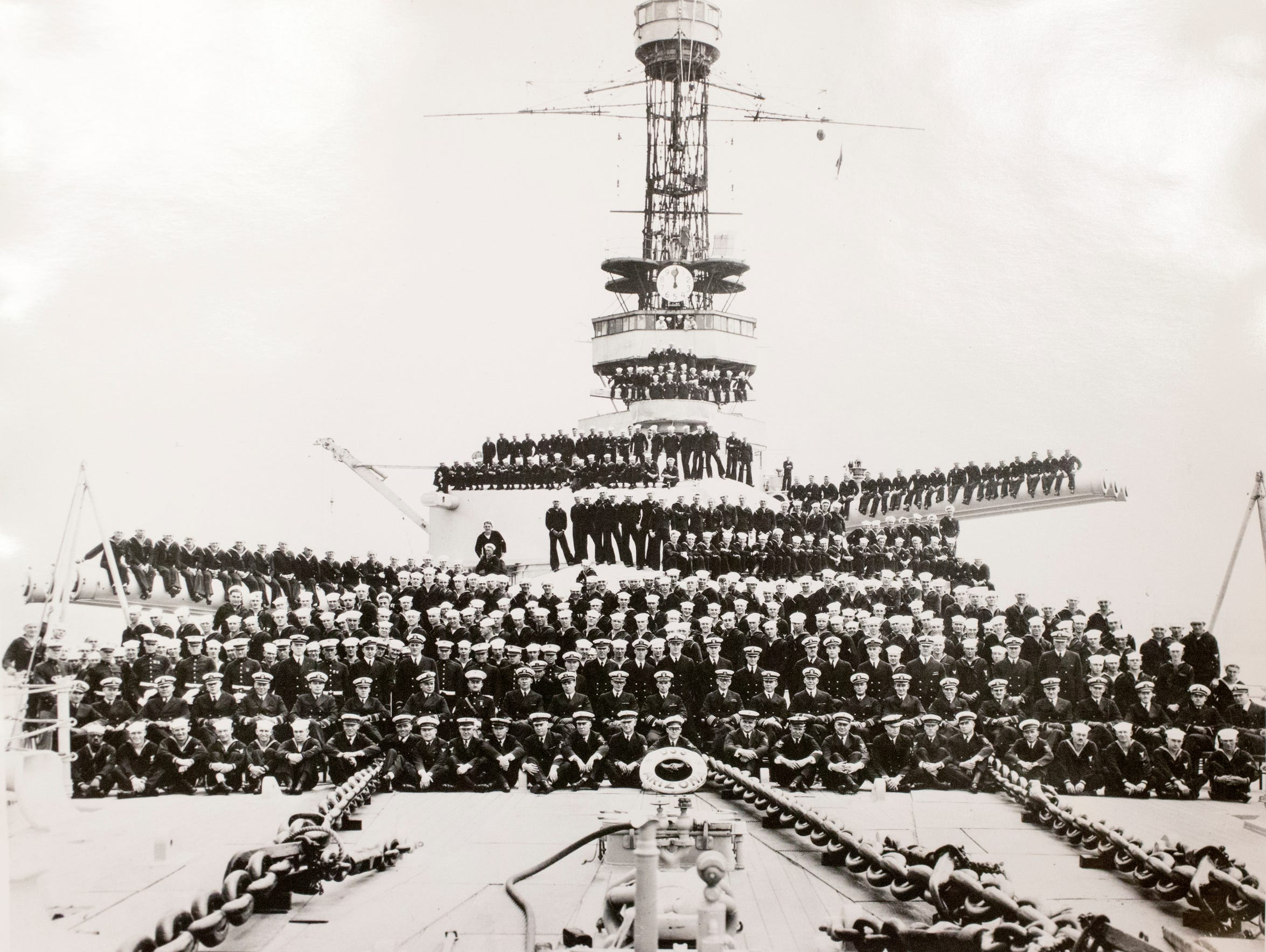 An undated crew photo in the early days of the battleship.
