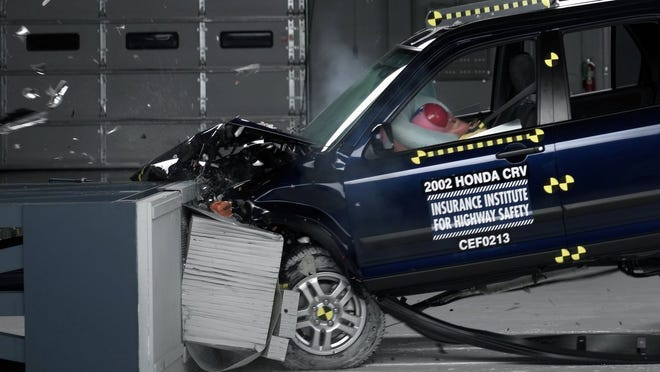 This undated photo provided by the Insurance Institute for Highway Safety shows a crash test of a 2002 Honda CR-V, one of the models subject to a recall to repair faulty air bags. In a letter delivered Oct. 23, U.S. Senators Richard Blumenthal, D-Conn., and Ed Markey, D-Mass., are calling on regulators to issue a nationwide recall of cars with faulty air bags made by Takata Corp., questioning why automakers have been allowed to limit recalls to only certain locations with high humidity.