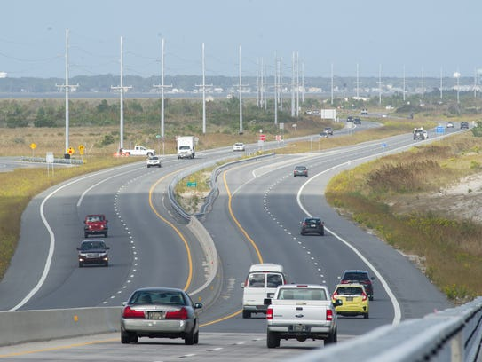 Traffic along Del. 1 near the Indian River Inlet.