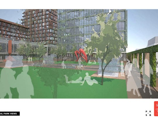 A depiction of public park space proposed for the redevelopment of Burlington Town Center mall.