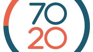 Logo for 70-20, a workforce training app.