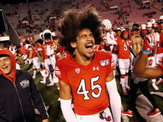 Utah wide receiver Samson Nacua (45) celebrates after the team's victory over Washington State following an NCAA college football game, Saturday, Sept. 28, 2019, in Salt Lake City. (AP Photo/Rick Bowmer)