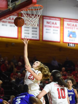Marist College's Rebekah Hand goes for a layup during a game against Seton Hall on Nov. 15..