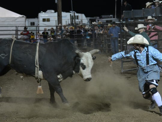 Dodging the bull is a challenging task at the Santiam
