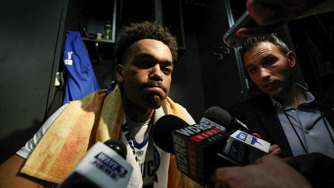 """Kentucky's PJ Washington said """"I didn't play good at all. I feel like if I would have made at least (half of my free throws) we would have won the game."""" He and UK players talked about the game after Kansas State beat Kentucky 61-58 in Thursday night's Sweet Sixteen game in Atlanta. March 22, 2018."""