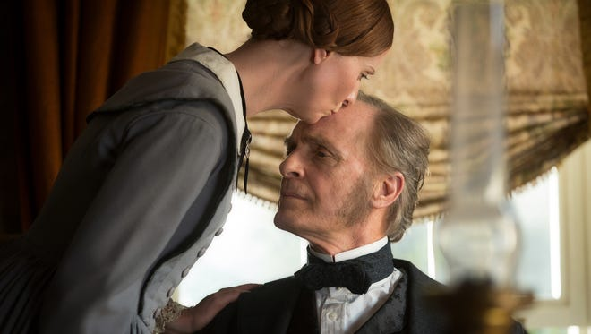 """It's a kiss for father (Keith Carradine) from daughter Emily Dickinson (Cynthia Nixon) in """"A Quiet Passion."""""""