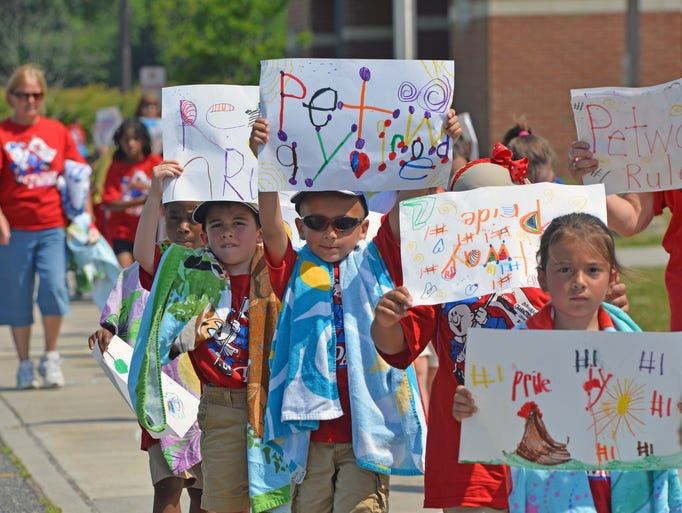 The Petway School in Vineland had their Pride Day 2014, yesterday where students paraded around the building.   June 17, 2014.  Staff photo/Craig Mattherws
