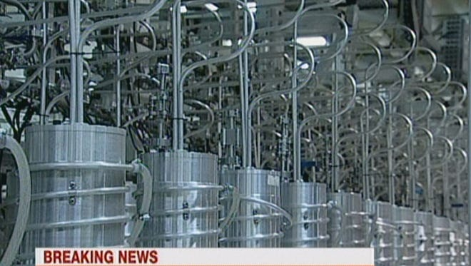 An image taken from a broadcast in February 2012 on the state-run Press TV shows centrifuges at Iran's Natanz nuclear site. Iran has said that is has activated a new generation of centrifuges and they are three times more productive.