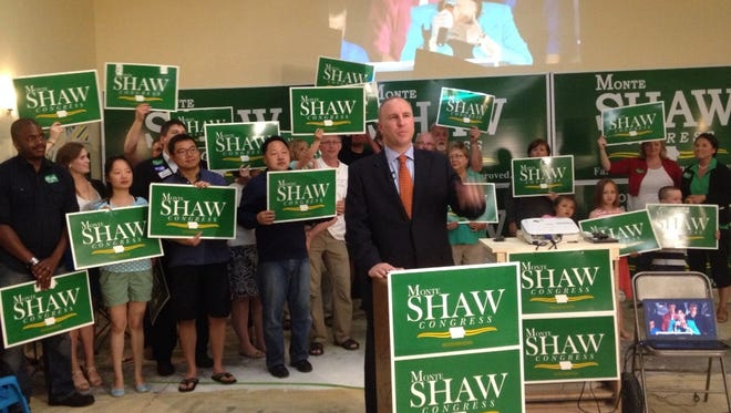 Monte Shaw, a Republican primary candidate for Iowa's 3rd U.S. House District race, speaks to watch party attendees Tuesday night, June 3.