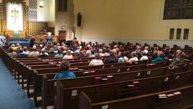 """About 100 people gathered for a """"Just Peace in Palestine"""" prayer service at Grace United Methodist Church, 3700 Cottage Grove Ave. in Des Moines, on Monday night."""