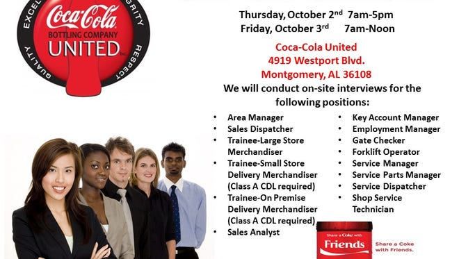 Coca-Cola plans to hold a career fair in Montgomery this week.