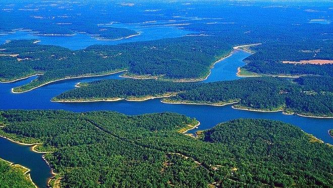 Aerial view of Norfork Lake