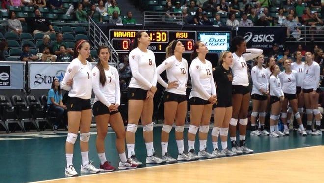 No. 25 ASU volleyball swept No. 17 Hawaii on Saturday night, improving to 2-0.