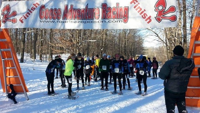 The women's start at the Frozen Assets snowshoe 5K at Harriet Hollister Spencer State Recreation Area on Saturday, January 4.