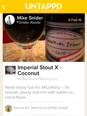 A screen grab of the Untappd app on iPhone.