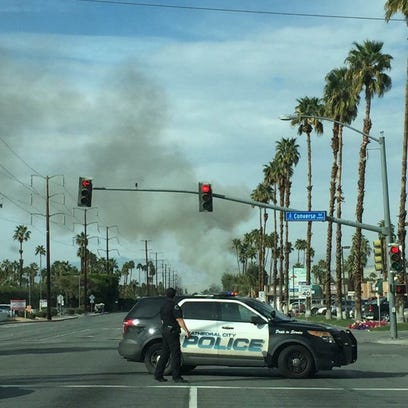 Cathedral City trailer home fire prompts road closure