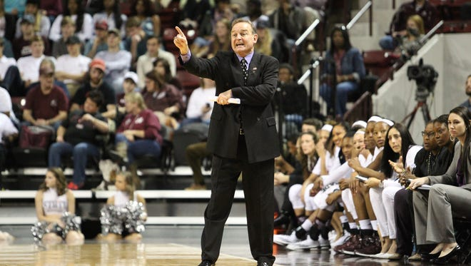 Mississippi State head women's basketball coach Vic Schaefer directs his players in the first half of the game in Starkville between the Bulldogs and the Crimson Tide. Photo by Kevin Warren