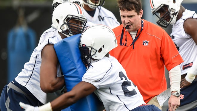 Defensive Coordinator Will Muschamp view Tuesday's opening spring practice.