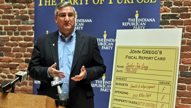 Indiana Republican Chairman Eric Holcomb said Friday that Democratic gubernatorial hopeful John Gregg does not deserve the credit he has claimed for balanced budgets and reformed property taxes.