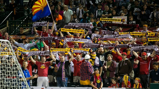 Fans pack the stadium during the opening Arizona United home game against the Portland Timbers' team, T2, at Scottsdale Stadium, the new venue of AZ United April 25, 2015 in Scottsdale, Arizona.