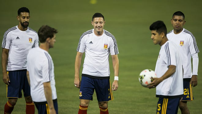 The Arizona united soccer team warms up before the opening Arizona United home game against the Portland Timbers' team, T2, at Scottsdale Stadium, the new venue of AZ United April 25, 2015 in Scottsdale, Arizona.