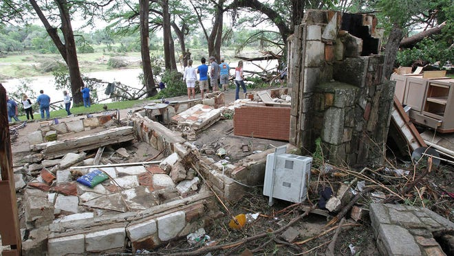 A destroyed cottage in  Wimberley, Texas.