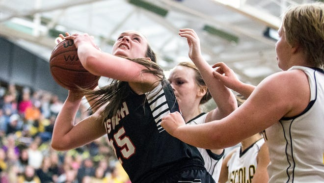 Pisgah's Maddie Webb prepares to shoot in a January basketball game against Tuscola.