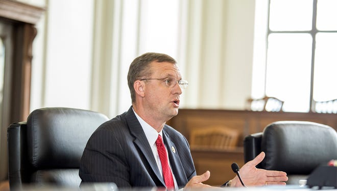 Rep. Doug Collins (R-GA) questions the panel during the congressional subcommittee on government operations hearing on Operation Something Bruin at the Historic Haywood County Courthouse, Friday, June 19, 2015. The congressmen heard testimony from defendants and government agencies involved in the years-long operation to combat bear poaching in Western North Carolina and Georgia.