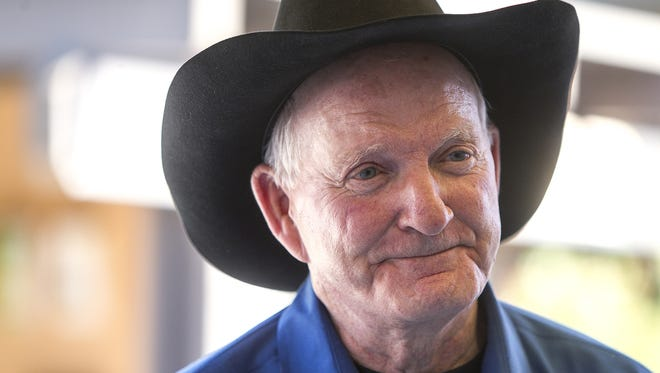 """Marshall Trimble attends the Payson Book Festival to promote and sign copies of his new book, """"Arizona Outlaws and Lawmen"""" on Saturday, July 25, 2015."""