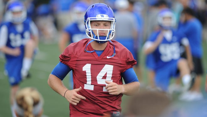 Junior QB Patrick Towles during the University of Kentucky Football fan day at the Nutter Field House in Lexington, Ky., on Saturday August 8, 2015. Photo by Mike Weaver