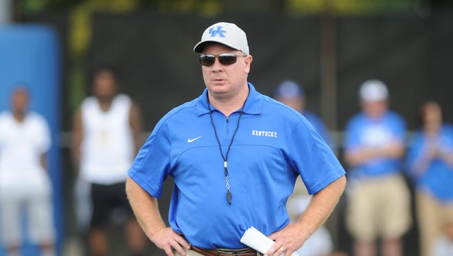 Head coach Mark Stoops during the University of Kentucky Football fan day at the Nutter Field House in Lexington, Ky., on Saturday August 8, 2015. Photo by Mike Weaver