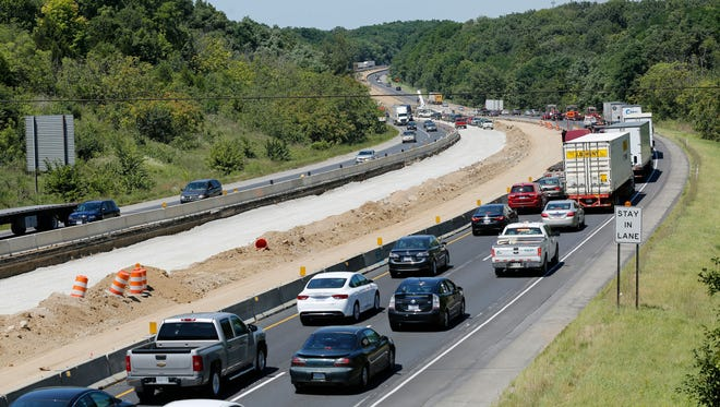 Traffic in the northbound lanes begins to back up approaching the bridge over the Wildcat Creek shortly before 2 p.m. Friday, August 7, 2015. Northbound lanes were once again closed shortly thereafter.