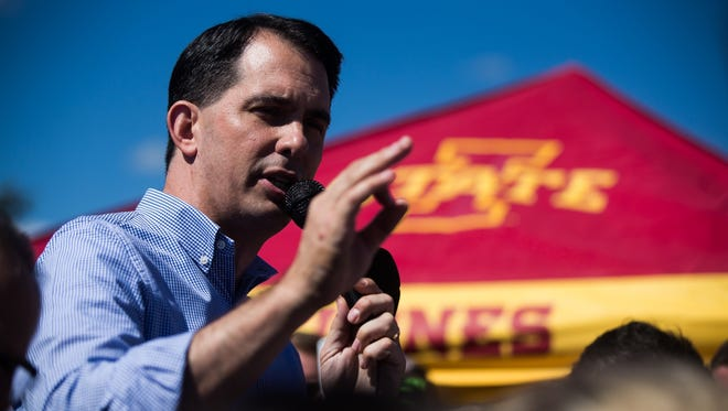Republican Presidential candidate Scott Walker campaigning during the tailgate before the Cy-Hawk game at Iowa State University in Ames on Saturday, Sept. 12, 2015.