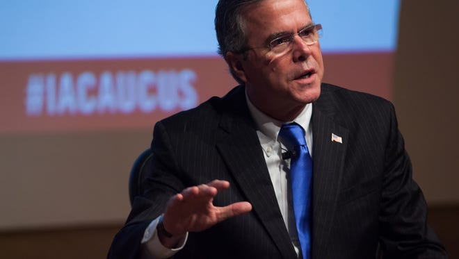 Republican presidential candidate Jeb Bush talks during the Iowa Caucus Consortium breakfast at the State Historical Museum in Des Moines on Thursday, October 8, 2015.