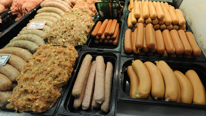 Hotdogs for sale at the Amish Market At Spences's Bazaar in Dover.