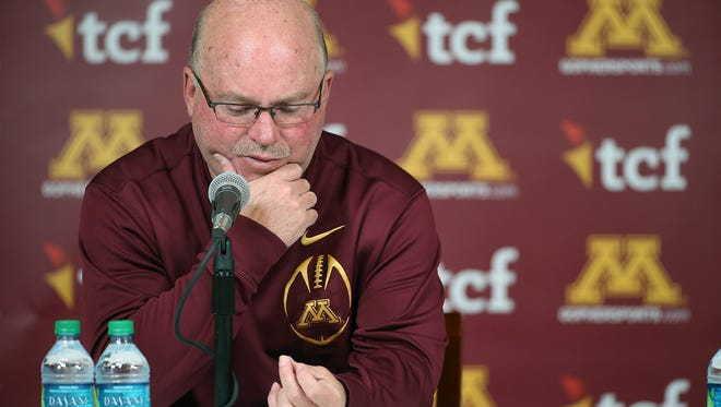 University of Minnesota college football coach Jerry Kill speaks during a press conference Wednesday, Oct. 28, at TCF Bank Stadium in Minneapolis. Kill abruptly retired because of health reasons.