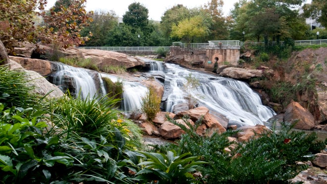 Falls at Falls Park on the Reedy River in Greenville, S.C