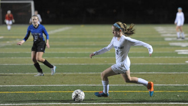 Sacred Heart's Ashley Durik makes a run at goal during the girls soccer state finals game between Sacred Heart and Lexington Catholic  at Paul Dunbar High School in Lexington, Ky., on Saturday, November 7, 2015. Photo by Mike Weaver